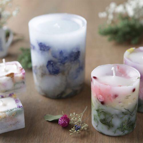 お花が透ける綺麗なろうそく、ボタニカルキャンドルの作り方
