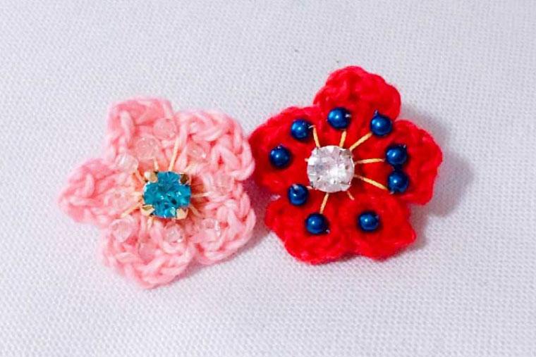 かぎ針で編む、梅の花モチーフの作り方