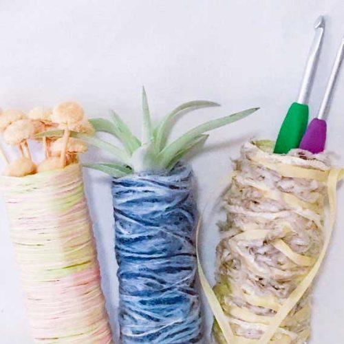 編まずに作れる、毛糸のペン立てのレシピ