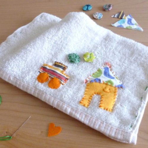 子どもが楽しくお掃除できる、かわいいワンポイント雑巾の作り方