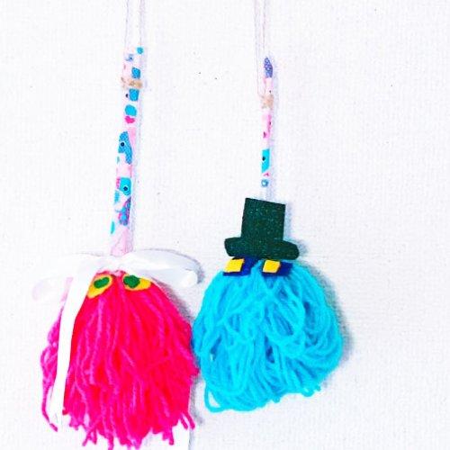 アクリル毛糸のミニほうきを作ろう!