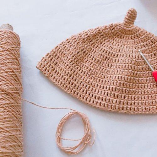 どんぐり帽子の編み方 かぎ針編みで作るベビー帽子