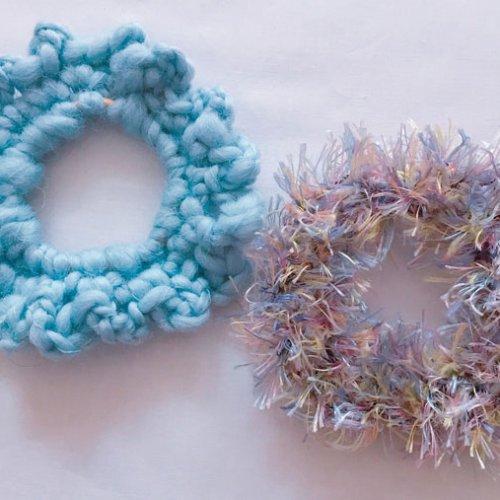 毛糸のシュシュを作ろう!編み物初心者さんにおすすめ