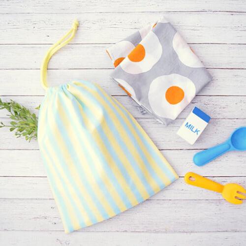 給食袋の作り方 丈夫でシンプルな片ひも巾着タイプのデザイン