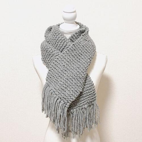 棒針で編むガーター編みのマフラーの編み方